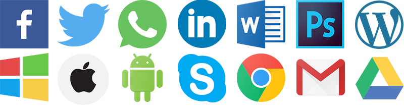 Logos of services offered, including Whatsapp, Facebook, and Gmail